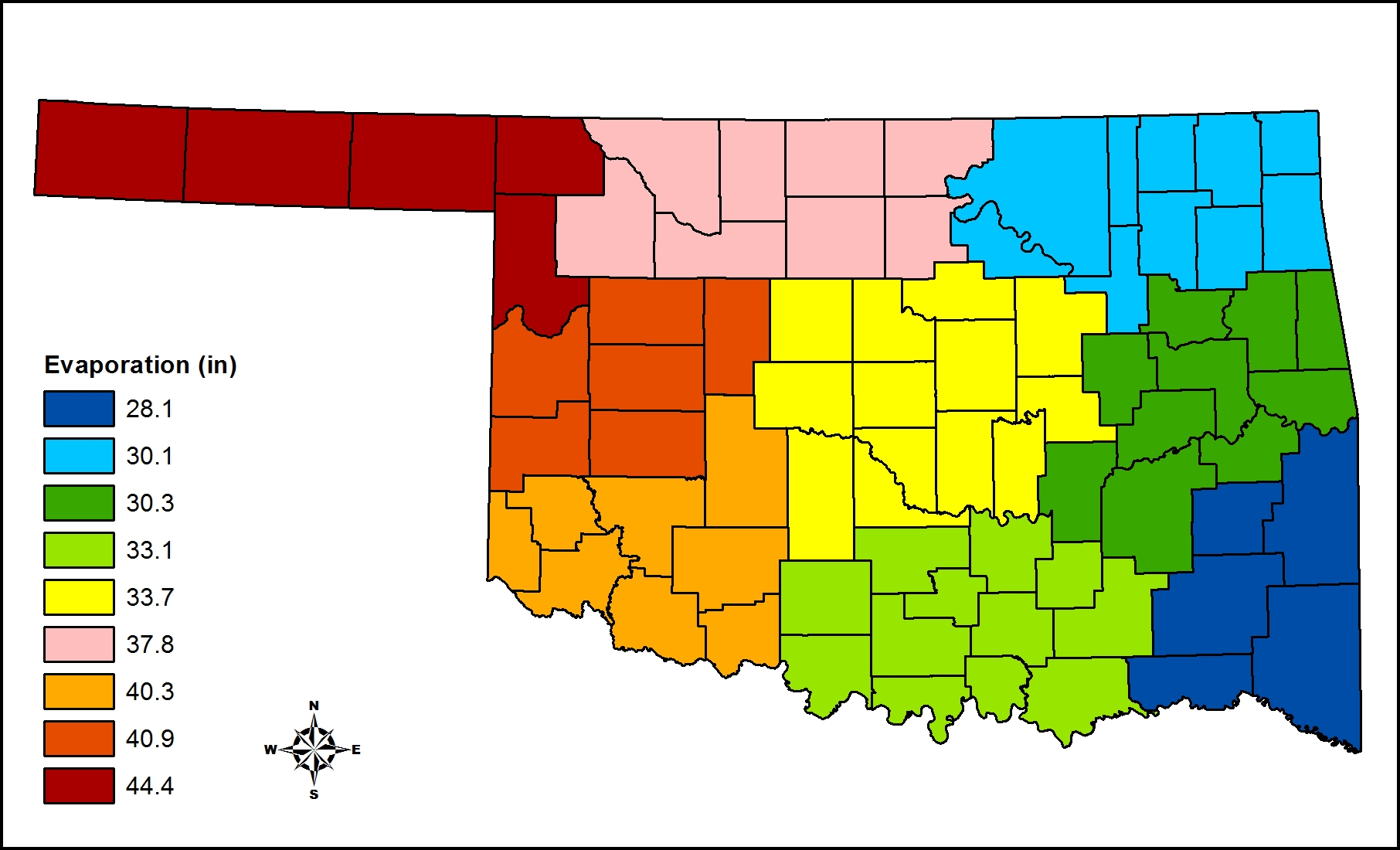 BAE Evaporation Losses From Shallow Water Bodies In Oklahoma - Us evaporation map